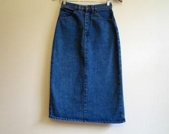 Vintage Blue Skirts Denim Skirts Pencil Skirts Denim Midi Skirts High Waisted Skirts Extra Small Size