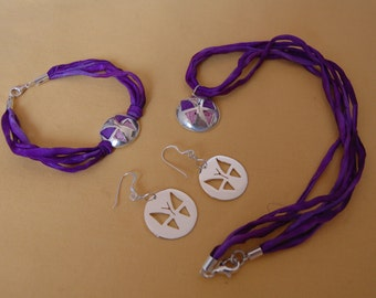 Set Butterfly silver and silk