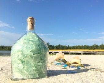 Aqua Sea Glass Bottle - Tumbled Sea Glass Beach House Decor Wedding