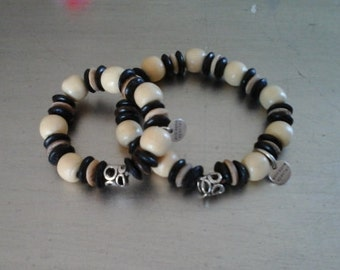 Father & Son African wooden beaded bracelet set for father and  Size 8 and 5.5