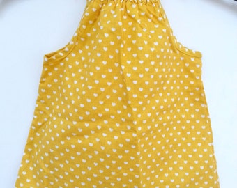 Dress baby yellow girl with shoulder knots
