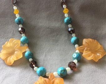 Orange Flower Copper Necklace
