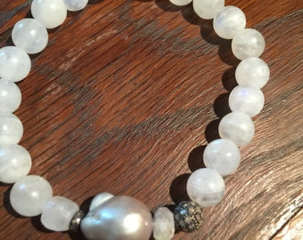 Moonstone Bracelet with Grey Baroque Pearl and Diamonds