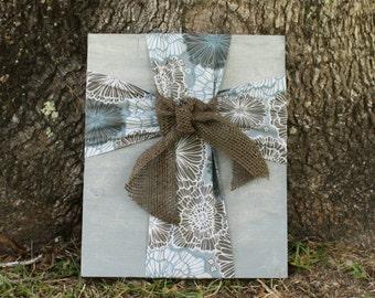 Fabric Cross/Cross/ Fabric Cross on Wood Plaque/Blue and Brown Fabric Cross/ Cross Wall Hanging