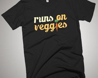 Runs on Veggies T-Shirt Vegan Raw Food