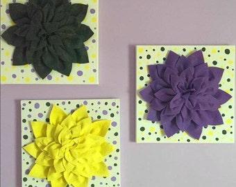 3 Large Felt Color Cordinated Flowers on 12x12 canvas