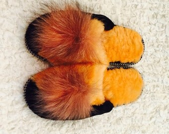 Women's slippers,Natural wool, Fur organic,Warm and comfortable, Cover toes,Slippers womens,Pompon