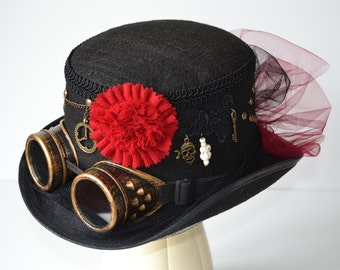 Hat Steampunk to flower red