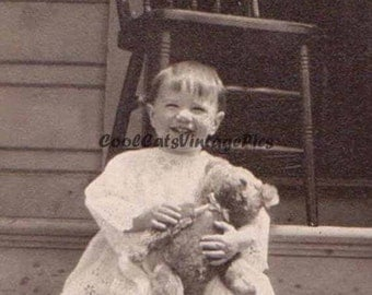 A Cute 1918 Baby and Teddy Bear - Digital Download