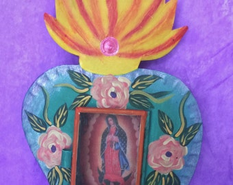 Virgin of Guadalupe in a glass heart