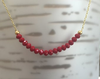 Ruby Minimalist Gold/Sterling Silver Necklace