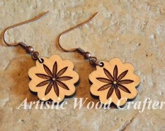 Wooden Flower Earrings (Maple)