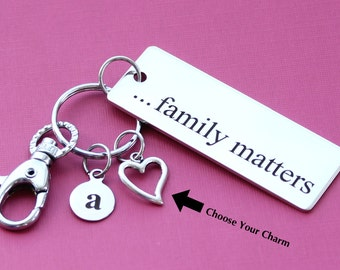 Personalized Family Key Chain Family Matters Stainless Steel Customized with Your Charm & Initial -K118