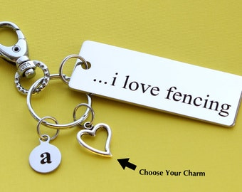Personalized Fencing Key Chain I Love Fencing Stainless Steel Customized with Your Charm & Initial -K188