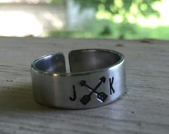 Initial Arrow Ring - Silver - Arrow Ring - Adjustable