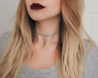 Gray Suede Choker with Charm