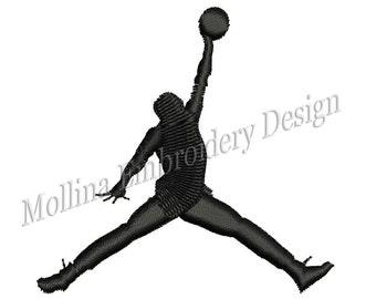 Jumpman Logo Machine Embroidery Design 6 Size