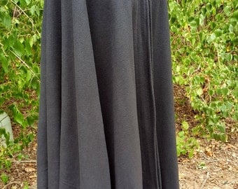 Black Long Cloak - Full Circle Fleece Medieval Renaissance Hooded Cloak - Costume Cape with Hood