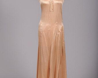 1930 Asymmetrical Silk Satin Vintage Wedding Dress