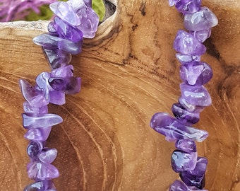 Amethyst Crystal Stretchy Bracelet with Natural Stones   - 035