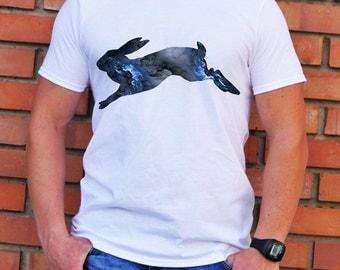Running Rabbit Tee - Art T-shirt - Fashion T-shirt - White shirt - Printed shirt - Men's T-shirt - Gift