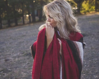 Red Alpaca Wool Poncho