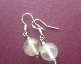 Clear Stone and Freshwater Pearl Drop Earrings