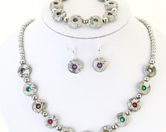 magnetic hematite semi precious stone necklace with magnetic clasp