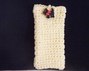 Hand Crocheted Sunshine Yellow Cell Phone/Eyeglass Case with Black Scottie Dog Button