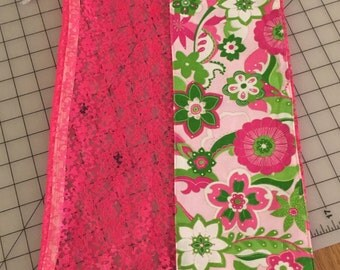 Pink and Green Flower Garden Lace Shoe Bag