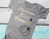 Handsome Little Pumpkin Gold Metallic Print Vest Bodysuit Onesie Halloween Thanksgiving Turkey Day