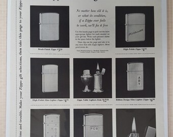 1961 Christmas shopping guide to Zippo print ad