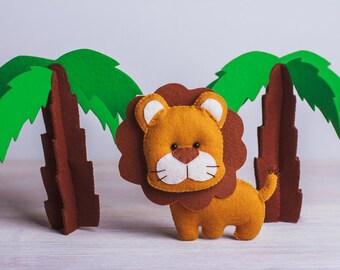 Felt lion toy Lion felt stuffed animal Plush lion Toy Safari nursery decor Africa Ornament handmade Lion Keychan Magnet Baby Gift