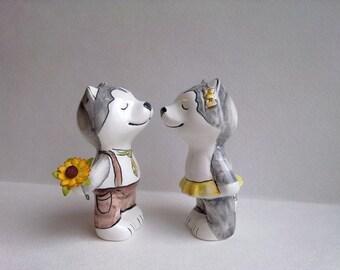 Ceramic figurine Kissing Huskies
