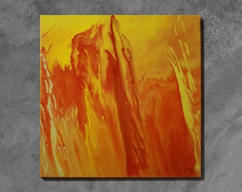 Abstract painting, original orange, yellow, abstract art, acrylic painting on canvas 50 x 50 cm - fury