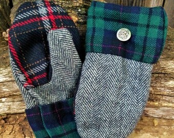 Handsewn Tweed and Plaids Wool Mittens