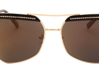 Vintage Retro Oversized Metal Frame Sunglasses with Gold Detail