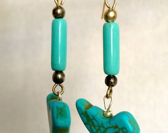 Blue Birds Hanging from Oblong Beads