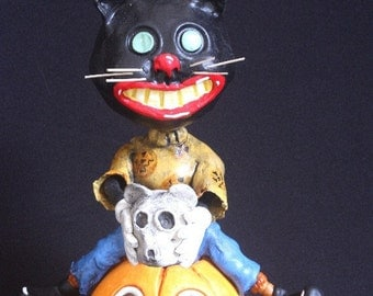 Black Cat & Jol Candy Container Bobble Head