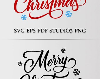 Merry Christmas Design in SVG EPS PDF Studio3 and Png file formats. Instant download file; ready for most popular machines.