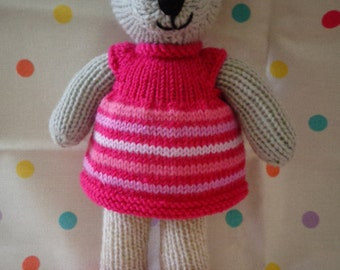 Hand Knitted, Teddy, Soft Toy, Dressed Teddy, Hand Made