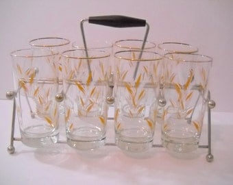 Glass Caddy Wheat Glasses set of 8