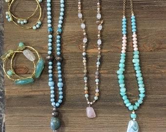 Blue Beaded Necklace set