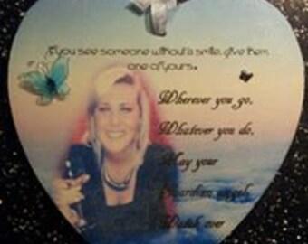 Memorial memory wooden photo heart. add own words & verse.