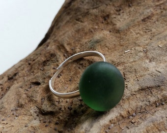 Green English Sea Glass on a Silver Plated Adjustable Ring