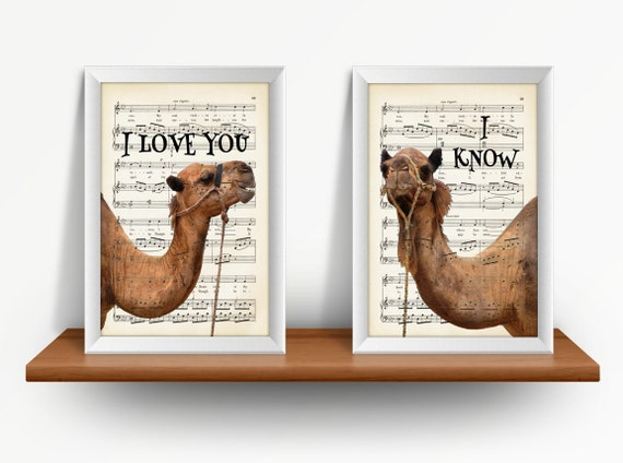 Camels In Love, 2 Print Set, I Love You, I Know, Mixed Media Print On Vintage Music Page
