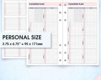 Cleaning planner & checklist filofax personal size planner inserts printable (cleaning inserts, cleaning schedule, cleaning planner)