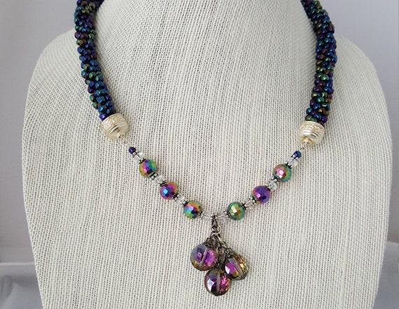 Iridescent dark blue beaded kumihimo woven  necklace