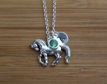 Horse Necklace, Personalized Hand Stamped Initial Birthstone Necklace, Monogram, Keepsake