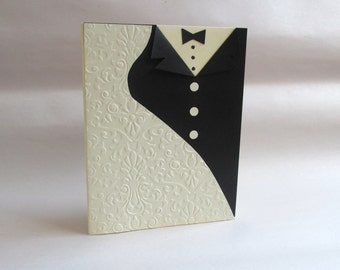 "Handmade ""Dress & Tux"" Wedding Card"